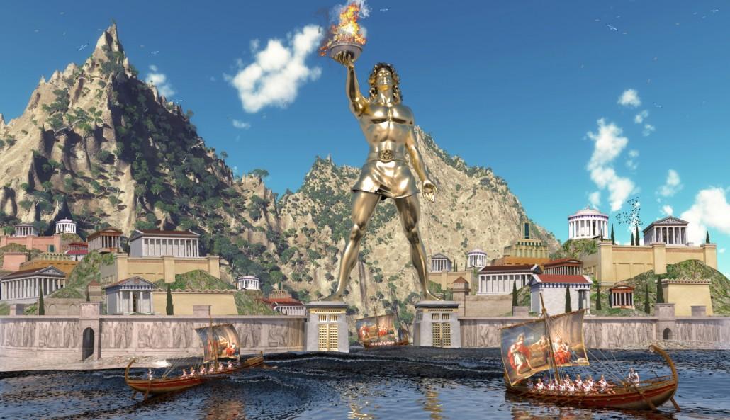 Colosse de Rhodes près de la forteresse et des palaces